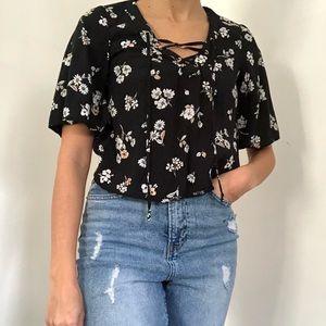 Black Floral lace up shirt